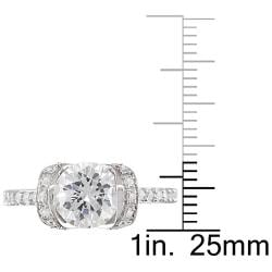 Miadora Sterling Silver Round-cut Clear Cubic Zirconia Engagement-style Ring