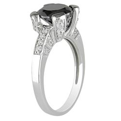 Miadora Sterling Silver Black and Clear Cubic Zirconia Engagement-style Ring