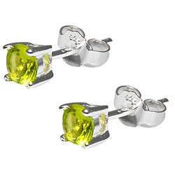 Sterling Silver Light Green Cubic Zirconia Stud Earrings