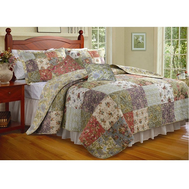 Greenland Home Fashions Blooming Prairie 3-piece Twin-size Cotton Quilt Set