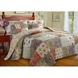 Greenland Home Fashions Blooming Prairie Queen-size Yellow Patchwork 3-piece Reversible Bedspread Set