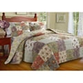 Blooming Prairie Queen-size Yellow Patchwork 3-piece Reversible Bedspread Set