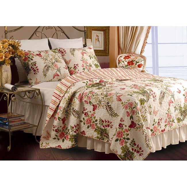 Greenland Home Fashions Butterflies 3-Piece Full/ Queen-size Quilt Set