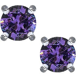 Sterling Silver Purple Cubic Zirconia Stud Earrings