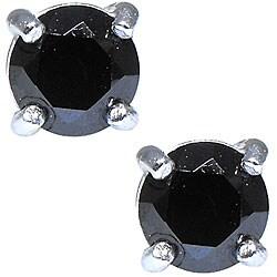 Sterling Silver Black Cubic Zirconia Stud Earrings