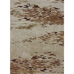 Crystalline Beige/ Spice Abstract Rug (3'10 x 5'7)