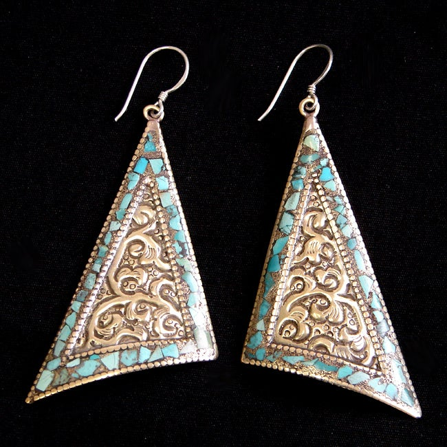 Brass and Sterling Silver Turquoise Triangle Earrings (Nepal)