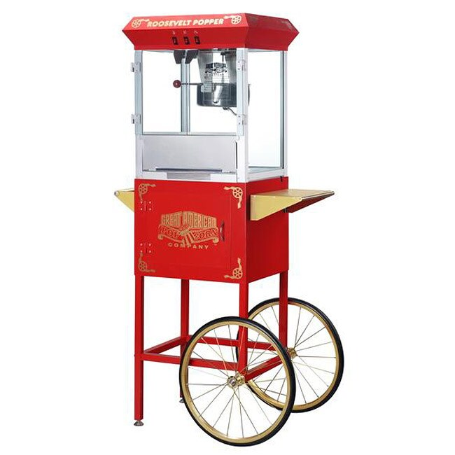 Red Roosevelt 6000 8-oz Antique Popcorn Machine and Cart