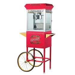 Pasedena 6040 Red 8-oz Antique Popcorn Machine and Cart