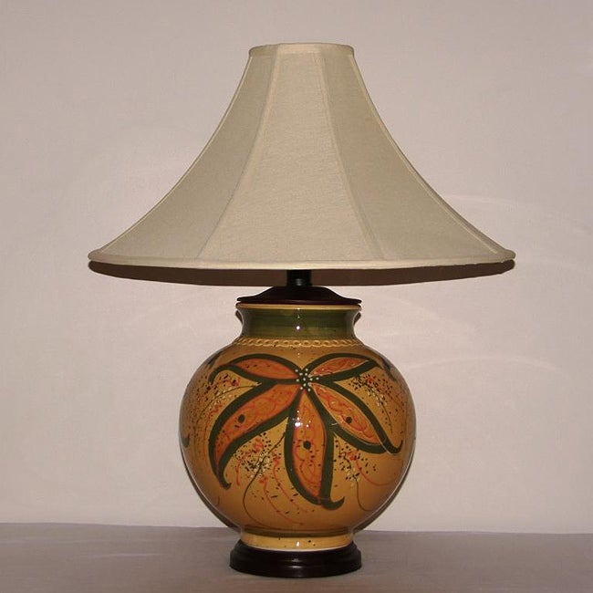 Crown Lighting Honey Mustard with Green Floral Accent Ceramic Table Lamp with Tan Coolie Lamp Shade at Sears.com
