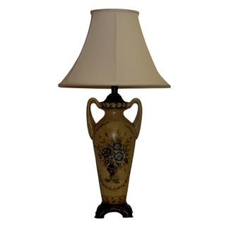Beige Floral Medallion Table Lamp