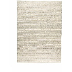 Hand-knotted Venice White Wool Rug (5'6 x 7'10)