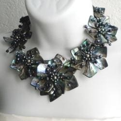 Pearl and Abalone Floral Motif Necklace (4-10 mm) (Thailand)