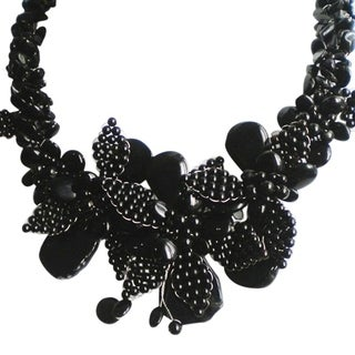 Black Agate and Onyx Floral Bouquet Necklace (Thailand)