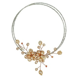 Memory Wire Pink Floral Cluster Pearl Choker (5-15 mm) (Thailand)