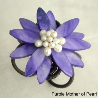 Cotton Mother of Pearl and Pearl Blue/ Pink Flower Cuff (5-10 mm) (Thailand)