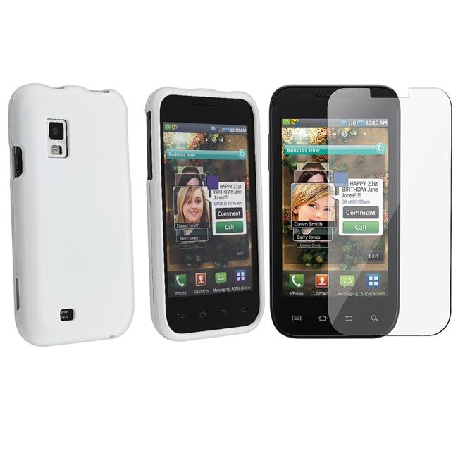 White Rubber Case/ Screen Protector for Samsung Fascinate