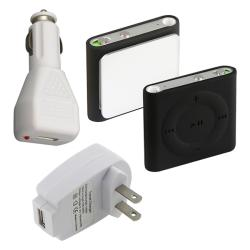 INSTEN 3-piece Black iPod Case Cover/ USB Chargers for Apple iPod Shuffle 4