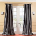 Solid Faux Silk Taffeta Graphite 84-inch Curtain Panel
