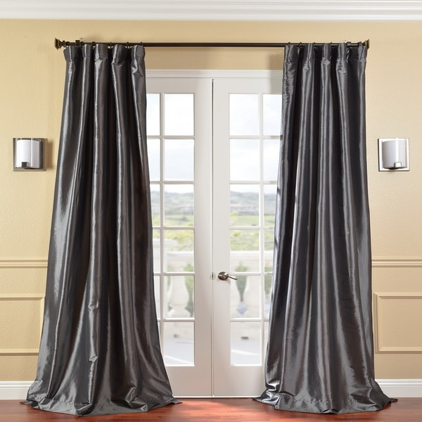 Solid Faux Silk Taffeta Graphite 96-inch Curtain Panel