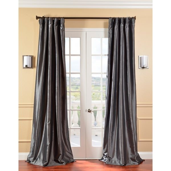 EFF Solid Faux Silk Taffeta Graphite Curtain Panel
