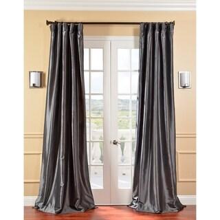 Solid Faux Silk Taffeta Graphite 120-inch Curtain Panel