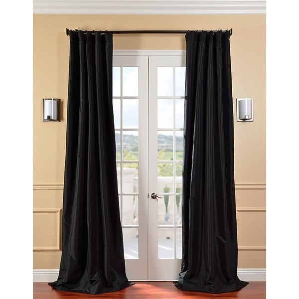 EFF Solid Faux Silk Taffeta Jet Black 84-inch Curtain Panel