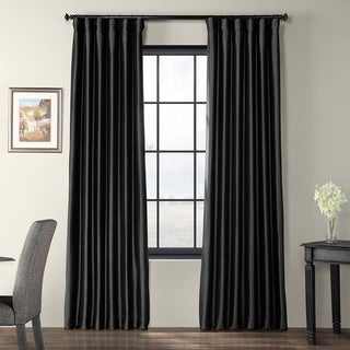 Solid Faux Silk Taffeta Jet Black 96-inch Curtain Panel