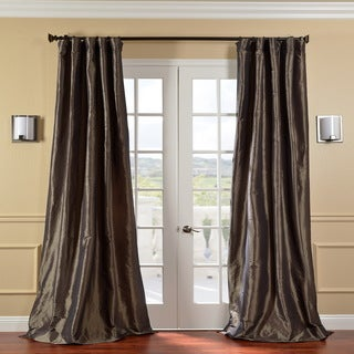 Solid Faux Silk Taffeta Mushroom 96-inch Curtain Panel