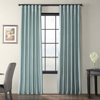 Solid Faux Silk Taffeta Robin's Egg 108-inch Curtain Panel
