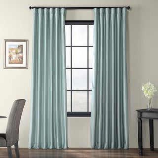 Solid Faux Silk Taffeta Robin's Egg Curtain Panel