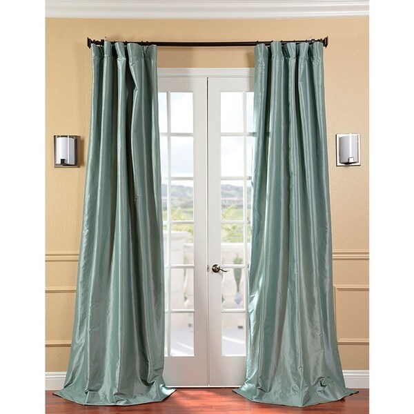 EFF Solid Faux Silk Taffeta Robin's Egg Curtain Panel