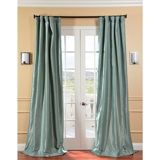 Solid Faux Silk Taffeta Robin's Egg 120-inch Curtain Panel