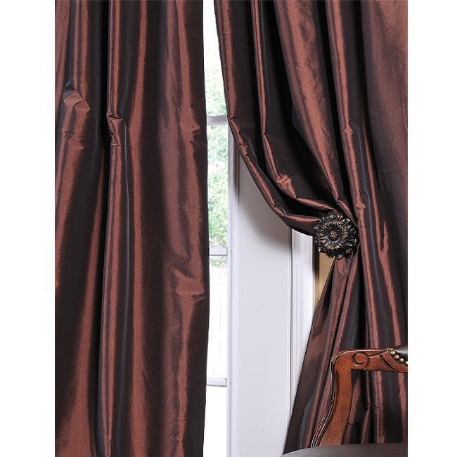 Solid Faux Silk Taffeta Rum Raisin 108-inch Curtain Panel