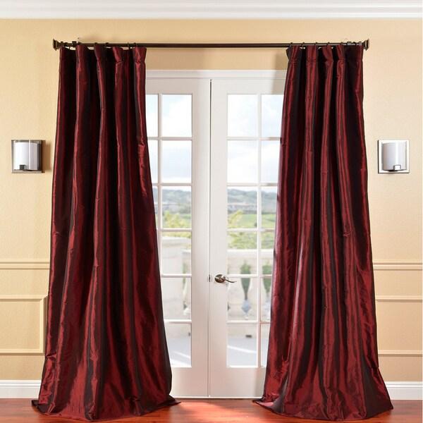 EFF Solid Faux Silk Taffeta Syrah Curtain Panel