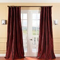 EFF Solid Faux Silk Taffeta Syrah Curtain Panel