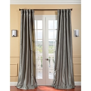 Solid Faux Silk Taffeta Platinum Curtain Panel