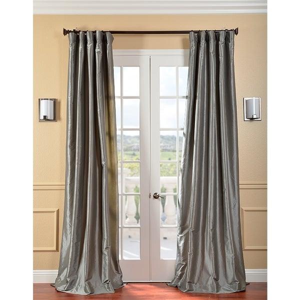 EFF Solid Faux Silk Taffeta Platinum Curtain Panel
