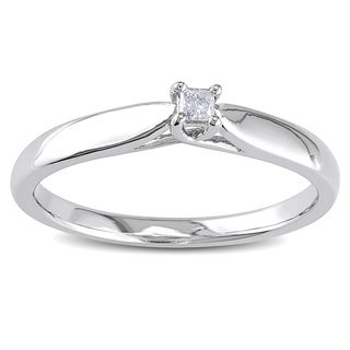 Sterling Silver Diamond Accent Solitaire Promise Ring