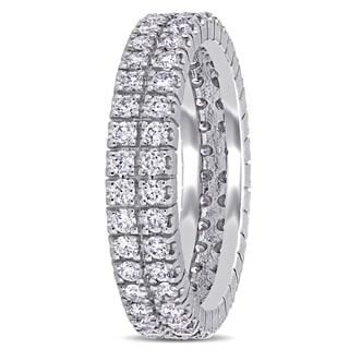 Shira Design 14k White Gold 1ct TDW Diamond Double Row Eternity Ring (G-H, I1-I2)