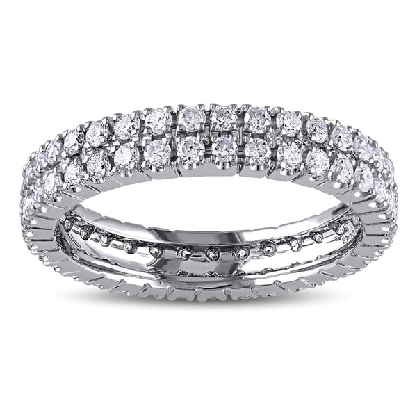Miadora 14k White Gold 1ct TDW Diamond Double Row Eternity Ring (G-H, I1-I2)
