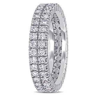 Miadora Signature Collection 14k White Gold 1ct TDW Diamond Double Row Eternity Ring (G-H, I1-I2)