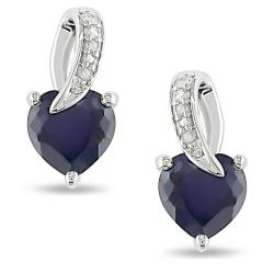 Miadora Sterling Silver Created Sapphire and Diamond Earrings