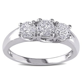 Miadora 14k White Gold 1ct TDW Diamond Ring (J-K), I2-I3) with Bonus Earrings