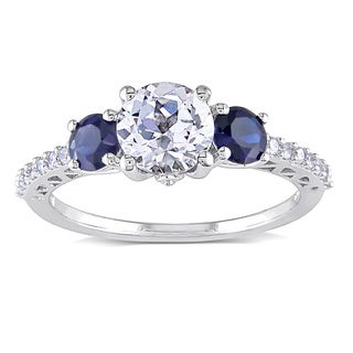 Miadora 10k White Gold Created Sapphire and 1/6ct TDW Diamond Ring (G-H, I2-I3)