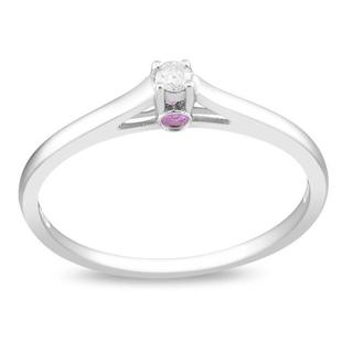 Miadora Sterling Silver Diamond Accent and Pink Sapphire Ring