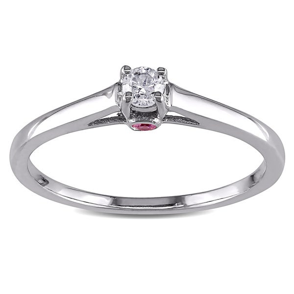 Haylee Jewels Sterling Silver 1/10ct TDW Diamond and Pink Sapphire Ring (G-H, I2-I3