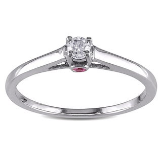 L'Amour Enrose by Miadora Sterling Silver 1/10ct TDW Diamond and Pink Sapphire Ring (G-H, I2-I3)