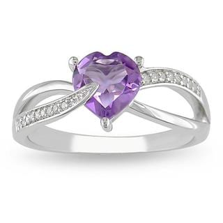 Miadora Sterling Silver Amethyst and Diamond Accent Heart Ring