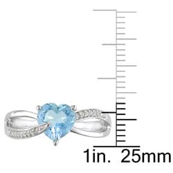 Miadora Sterling Silver Sky Blue Topaz and Diamond Accent Heart Ring